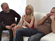 Skinny Babe Fucks A Dirty Old Man