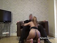 Huge Boobs Babe Rides Fake Cop In Sofa