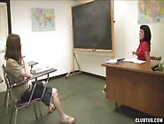 Woman Teacher Shows Girl