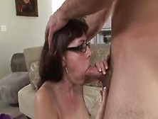 Older Lady With Glasses Giving A Great Blowjob