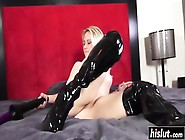 Giant Black Dildo Riding With Marilyn