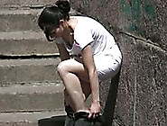 Amateur Brunette Russian Chick In White Shorts Pisses In Public