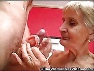 Mature Blonde Lady With Short Hair Is Gently Sucking Her Younger