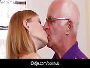 Horny College Girl First Time Fucking Grandpa After Blowjob Cum