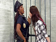 Black Warden Performs Lesbian Sex With White Whore In Jail