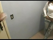 Hot Brunette Latina Pooping On Top Of A Toilet