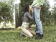 Brunette German Babe Will Suck Huge Cock Outdoors