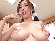 A Japanese Nurse Strokes A Cock And Gives A Blowjob