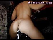 Hot Creamy Pussy Rides Black Dildo