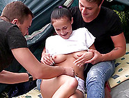 Beautiful Nicole Love And Two Horny Guys Having A Camping Threes