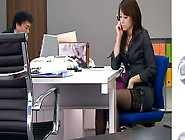 Shameless Asian Office Whore Maki Hojo Masturbates At Her Desk