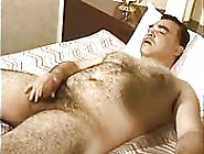 Hairy Daddy Jerks Off On Bed