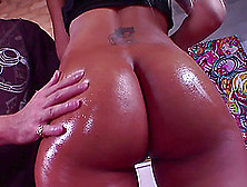 Pretty Tattooed Latina Getting Her Nice Ass Oiled Before Being S