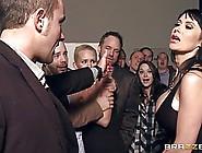 Busty Woman In Black Dress,  Eva Karera Is Satisfying Two Guys At