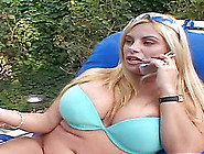 Plump Blonde's Shaved Pussy Filled With A Hunk's Warm Semen