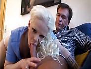 Bleach Blonde Slut Sucks And Sits On His Dick