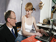 Trickyoldteacher - Sassy Redhead Gives Blowjob And Fucks Teacher
