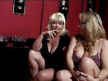Mature Women And Two Cute Young Friends Have Bald Man Worship Th