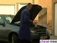 Stockings Brunette Babe Fucks Her Car Mechanic Doggy Style