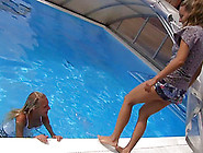 Two Hot Girls Go Skinny Dipping In The Pool And Eat Some Pussy