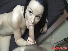 Lean Body Brunette With Great Tits Sucks On Dick