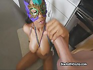 Mardi Gras Mask Wearing Ebony Slut Entices This Guy With A Blowj