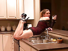 She Poses And Flashes Her Hot Waist In The Kitchen