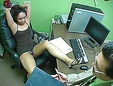 Office Girl In High Heels Gets Cumshot After Footjob