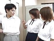 Two Japanese School Girl Spitting On Teacher