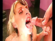 Chesty German Milf Swallows Cum After Foursome Action