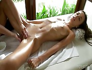 Oiled-Up Lesbian Teen Getting Her Shaved Pussy Fingered