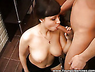 Bosomy Whorish Brunette Gets Poked Doggy Style Tough