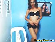 Skinny Tranny Masturbate Her Big Cock