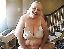 Blonde Ssbbw Granny Flashing Her Titties As I Tape Her