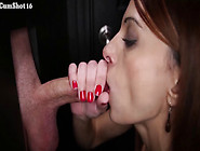 3 Hot Brunettes Sucking All The Cock They Can In This Gloryhole