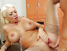 Title: Busty blonde teacher screwed across her desk