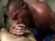 Mature Muscled Gay Masseur Sucking Clients Cock