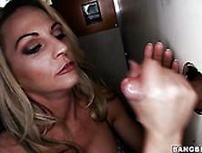 Buxom Blonde Sindy Lange Sucks A Good Hard Cock Throught A Glory