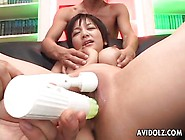 Cocks Cum On Her Big Tits And She Squirts
