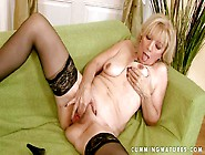 Turned On Blonde Granny With Hanging