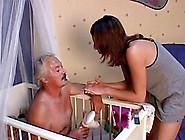 Sexy Teen With Long Dark Hair Sucking An Old Man's Cock