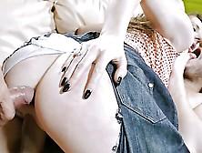 Pretty Brunette Gangbang Ripped Jeans