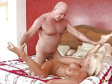 Blonde after a mature cock