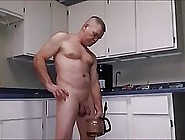Kinky Guy Is Masturbating In The Kitchen,  While No One Is At Hom