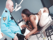 A Security Guard Gets His Big White Cock Sucked Off By A Black G