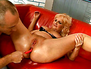 Lewd Fat Blond Mature Gets Her Moist Vagina Dildo Fucked