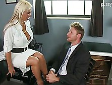 Seductive,  Blonde Secretary Has Big Tits And Likes To Fuck Her B