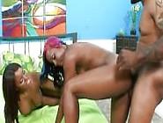 Ebony Threesome Fun With Facial