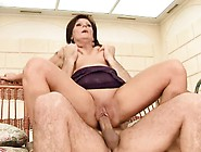 Buxom Brunette Mom Deepthroats A Big Rod And Then Fucks It With
