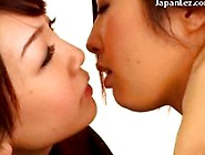 Asian Girl In Fishnet Dress Kissing Passionately Spitting Lickin